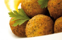 Mini Pork and Potato Bombs, breaded in Quely Picada with garlic and parsley