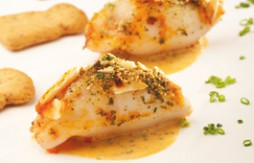Squid Stuffed with Sobrasada and Prawns, baked with Almond Cream and Quely Crackers