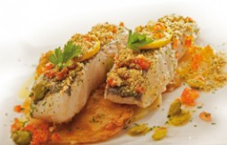 Hake Baked with Tomato, Potatoes, Broad Beans and Quely Picada Ajo y Perejil biscuit crumbs